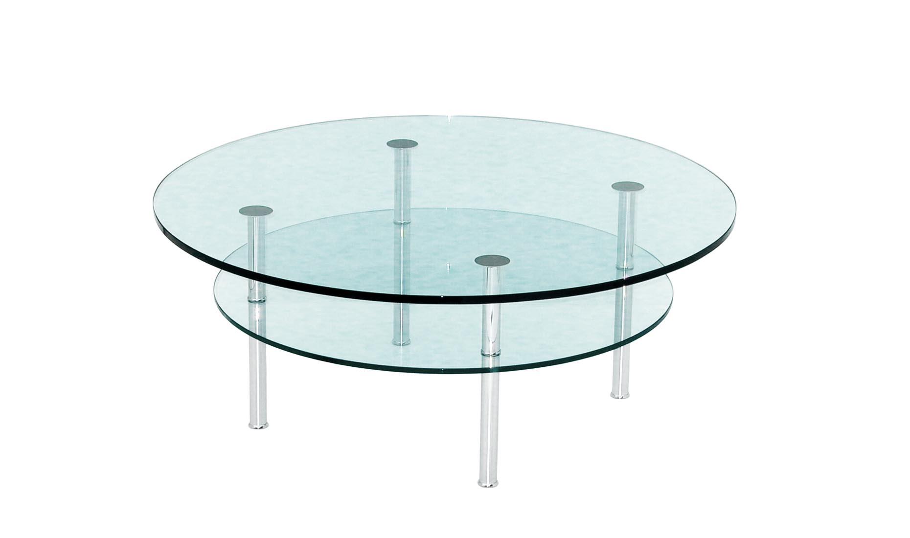 couchtische mit zwei oder drei glasplatten rund ellipse oder oval. Black Bedroom Furniture Sets. Home Design Ideas