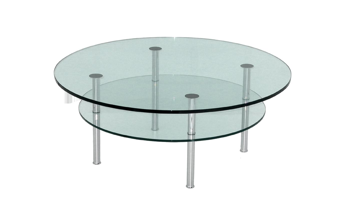 Glastische mit doppellatte duana rund auf rollen for Glas tische